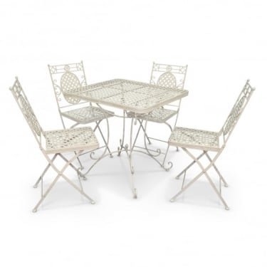 Richmond Garden Cassis Matt Cream Metal 4 Seat Folding Patio Dining Set