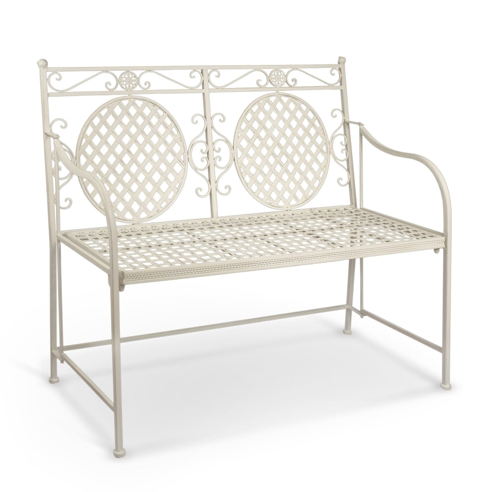 Cassis Matt Cream Metal Folding 2 Seater Patio Bench