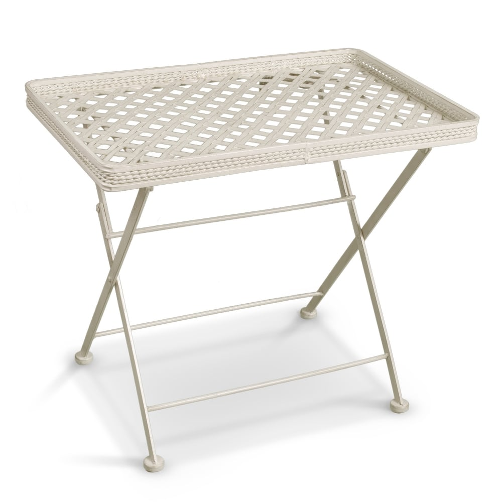 Cassis Matt Cream Metal Folding Patio Butler 39 S Tray Side Table Leader Stores