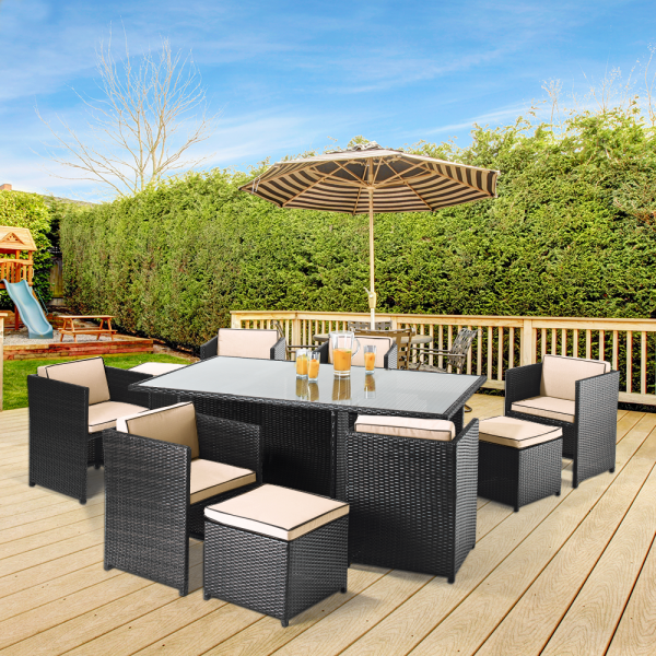 Buy Cube 6 Seat Rattan Patio Set Black at Leaderstores