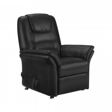 Riva Black Faux Leather Rise & Recliner Chair