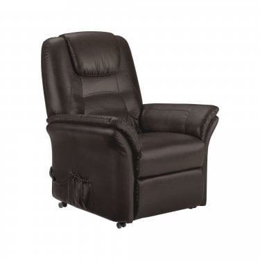 Riva Brown Faux Leather Rise & Recliner Chair