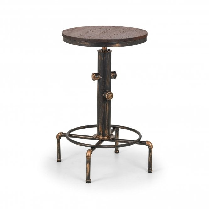 Rockport Round Pipework Bar Table, Brushed Copper & Rustic Elm