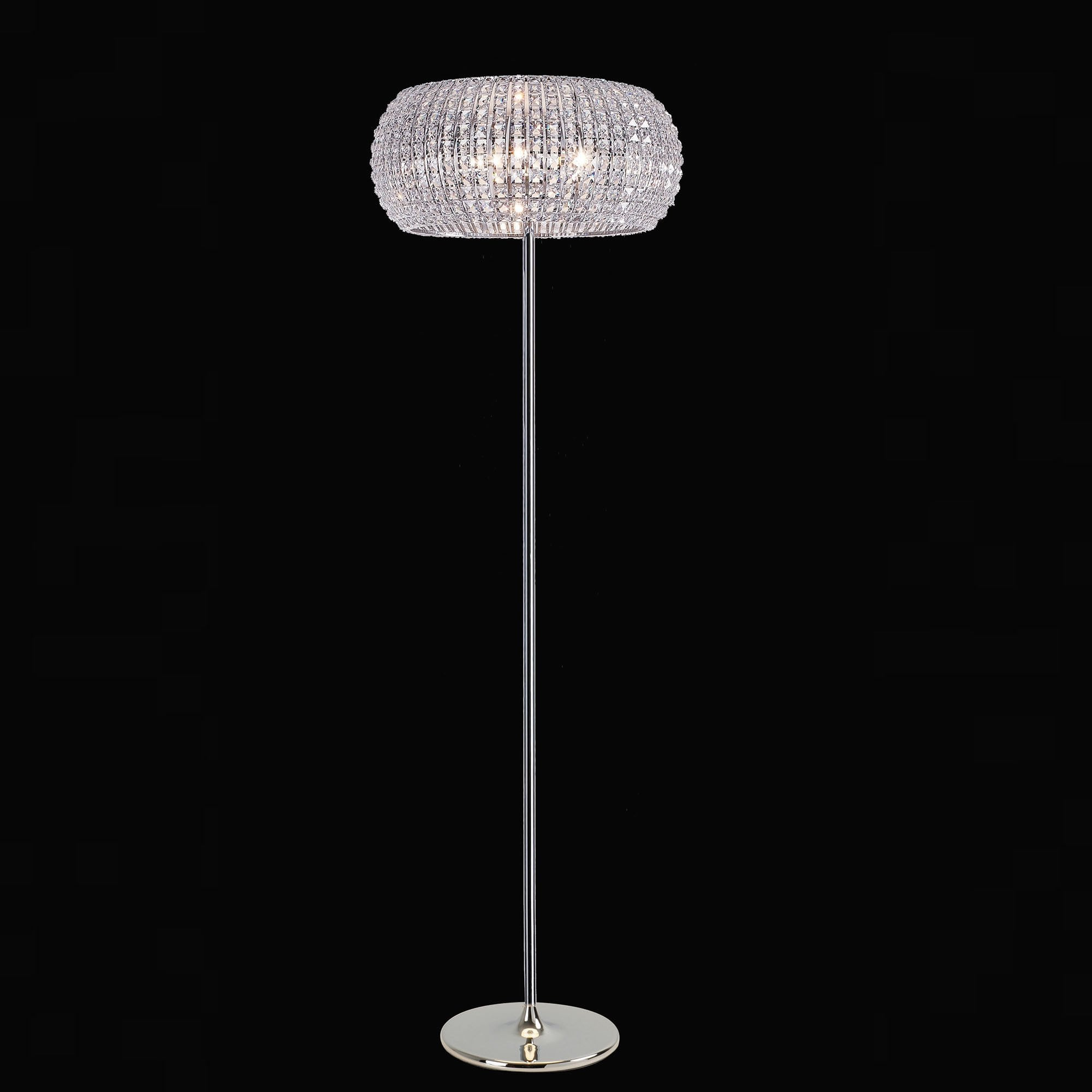 impex lighting rome chrome with clear crystal 6 lt floor lamp. Black Bedroom Furniture Sets. Home Design Ideas