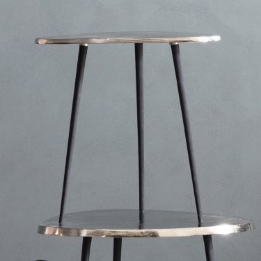 Sabre Small Side Table, Bright Silver