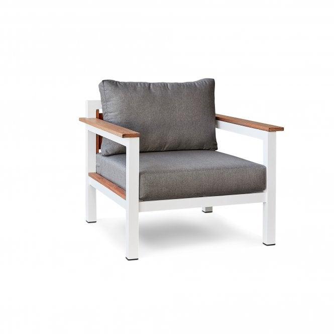 Saint Lucia Outdoor 1 Seater Sofa, White Painted & Bora Bora Grey Fabric