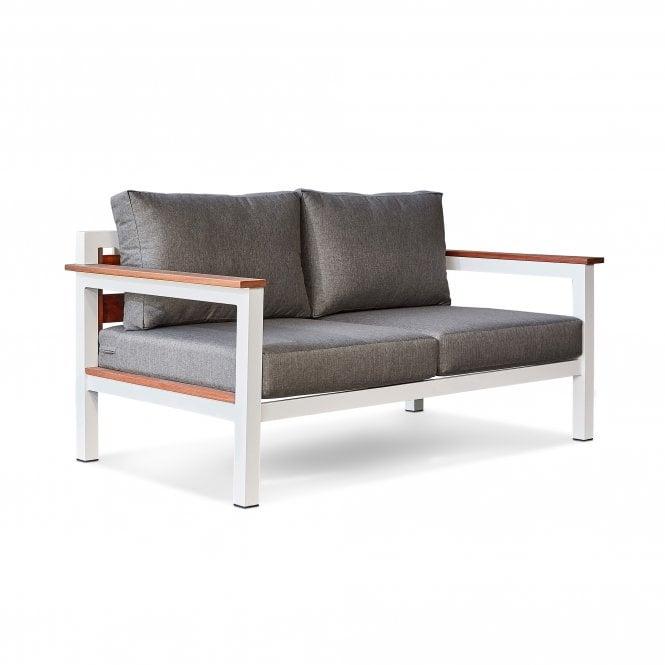 Saint Lucia Outdoor 2 Seater Sofa, White Painted & Bora Bora Grey Fabric