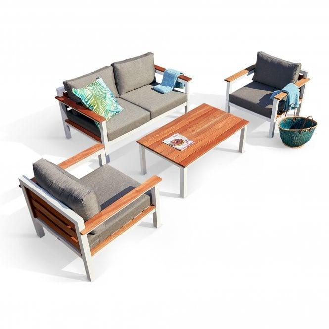 Saint Lucia Outdoor Furniture Set Of 4, White Painted & Balau Hardwood