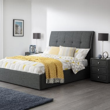 Santorini Slate Grey Linen Kingsize Bed