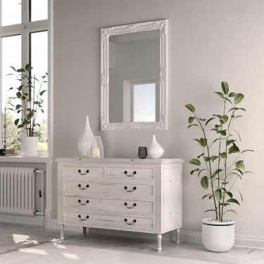 Sasha Rectangular Wall Mirror, White