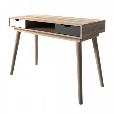 Scandi 2 Drawer Computer Desk, Grey, White & Oak
