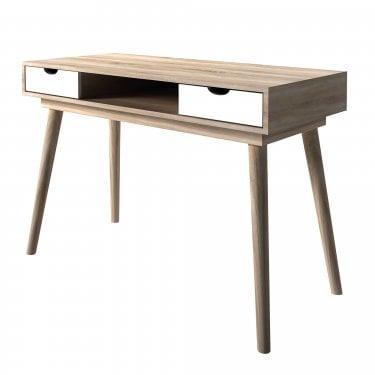 Scandi 2 Drawer Computer Desk, White & Oak