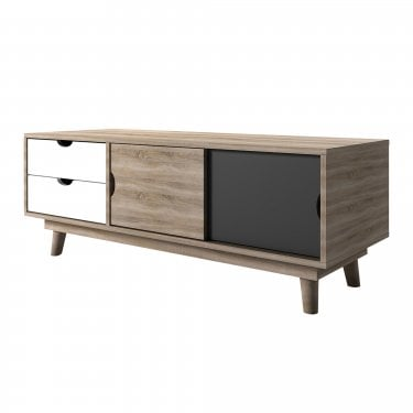 LPD Furniture Scandi Grey 2 Drawer 2 Door TV Unit (SCANDITVGREY)