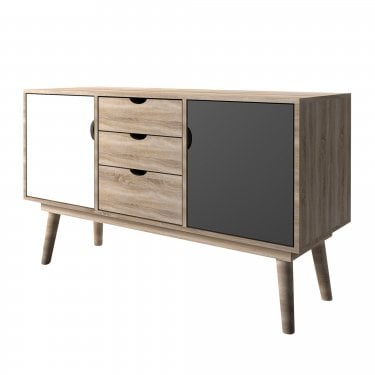 Scandi Grey 3 Drawer 2 Door Sideboard