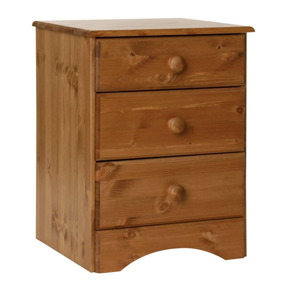 brand new 91d68 fe4ea Scandi Pine 3 Drawer Bedside Cabinet