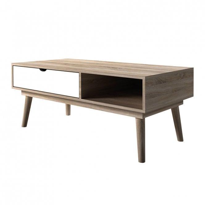 Scandi Rectangular Coffee Table, White & Oak