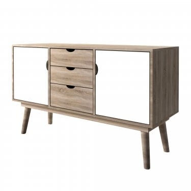 Scandi White 3 Drawer 2 Door Sideboard