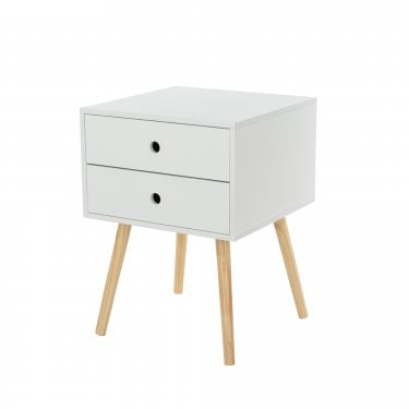 Scandia White & Beech 2 Drawer Bedside Cabinet