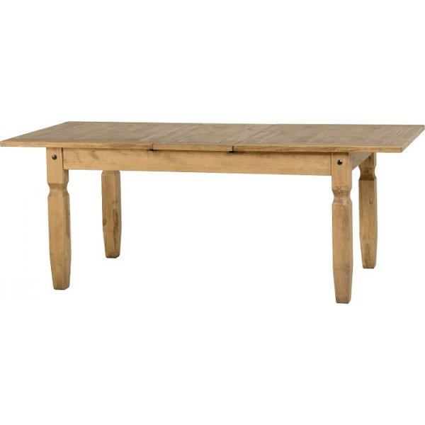 ... Corona Distressed Waxed Pine Extending Dining Table  Leader Stores