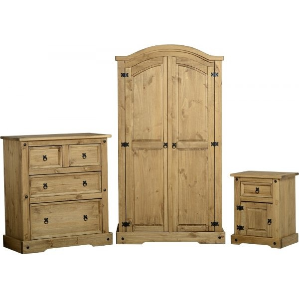 Corona Distressed Waxed Pine Trio Bedroom Set Leader Stores