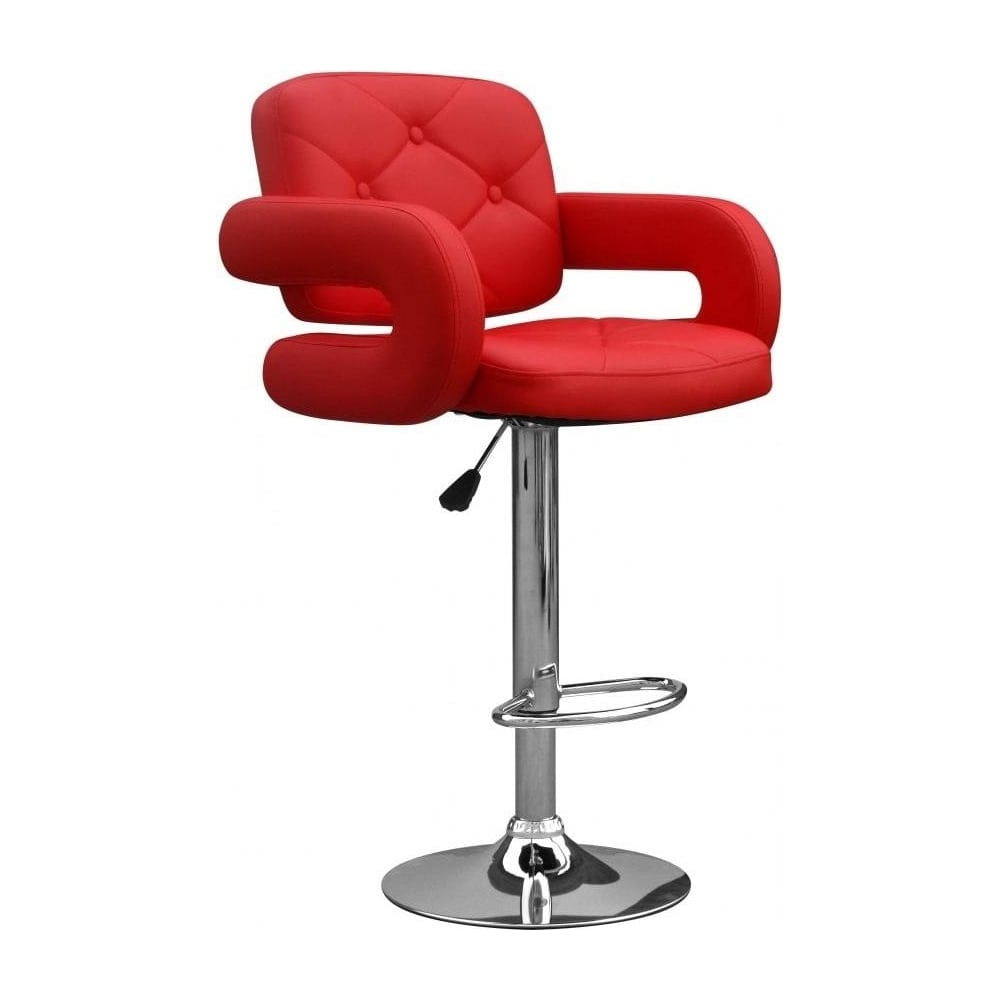 Shankar Colby Red Faux Leather Bar Stools Leader Stores