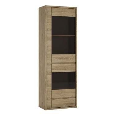 Shetland Oak 1 Drawer 1 Door Narrow Display Unit