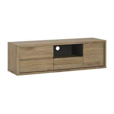 Shetland Oak 3 Drawer 1 Door Low TV Unit