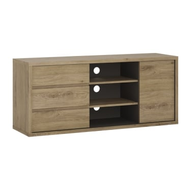 Shetland Oak 3 Drawer 1 Door TV Unit
