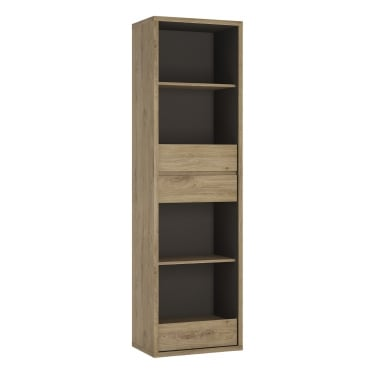 Shetland Oak 3 Drawer Tall Narrow Bookcase