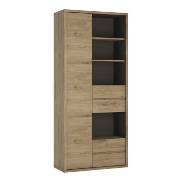 Shetland Oak 4 Drawer 1 Door Tall Wide Bookcase