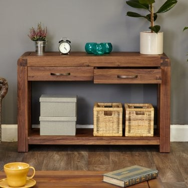 Shiro Walnut 2 Drawer Console Table