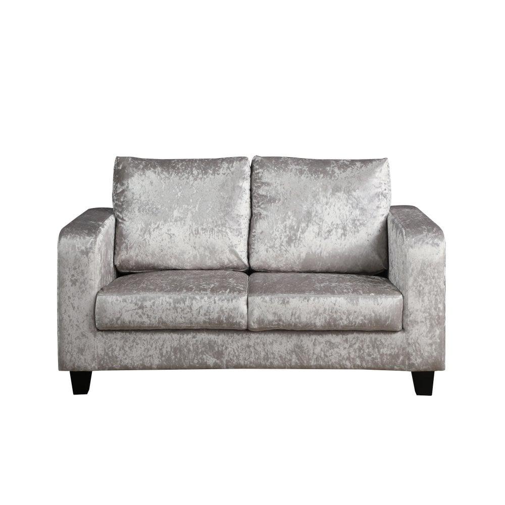 Silver Crushed Velvet Sofa In A Box Lpd Furniture