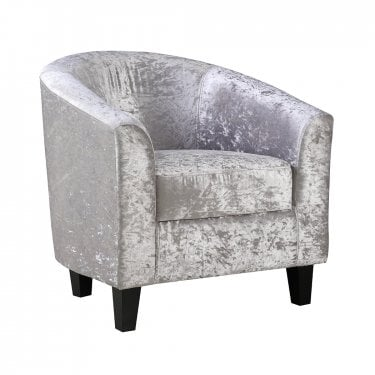 Silver Crushed Velvet Tub Chair