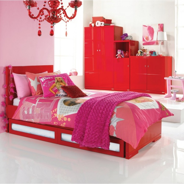 skyline red junior single bedframe with under bed drawers