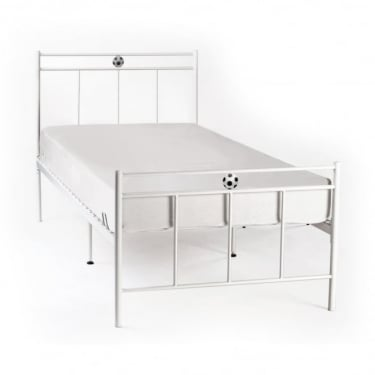 LPD Furniture Soccer White Metal Bed