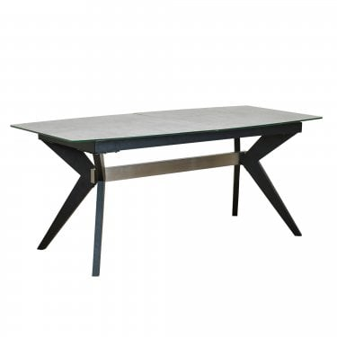 Soho Steel & Cement PVC Large Extending Dining Table