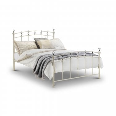 Sophie Kingsize Metal Bed, Stone White