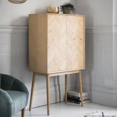 Sophis 1 Door Cocktail Cabinet, Oak