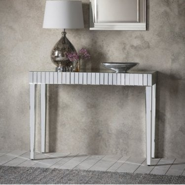 Sorrento Console Table, Champagne Silver