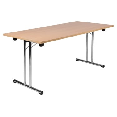 Teknik Space Beech Folding Executive Table with Chrome Frame (6909BE)