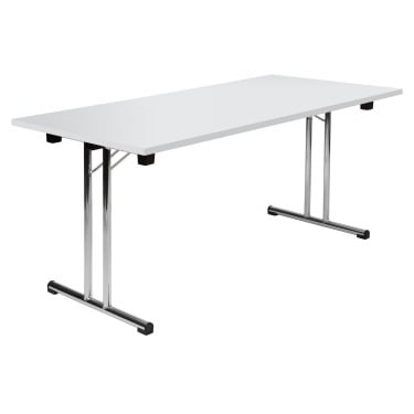 Space White Folding Executive Table with Chrome Frame