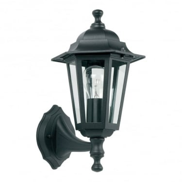 Endon Lighting Spengler 1Lt Matt Black & Clear Glass Outdoor 60W Non-Automatic Uplight Wall Light (YG-2000)