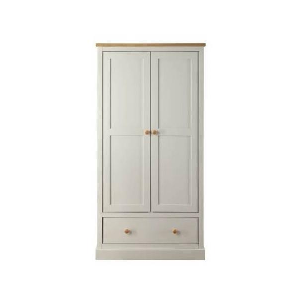 Lpd Furniture St Ives Grey 2 Door 1 Drawer Wardrobe