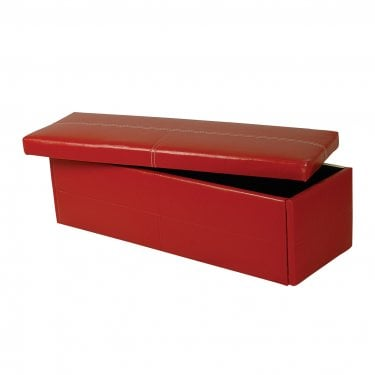 Stanton Ottoman, Red & Faux Leather