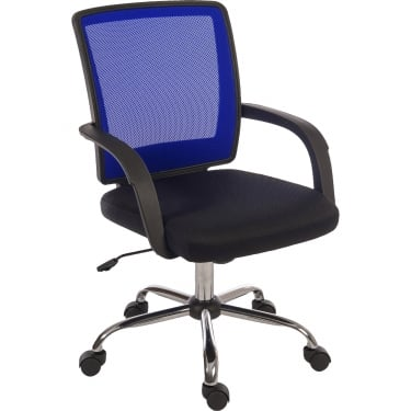 Star Mesh Black & Blue Chair with Chrome Base