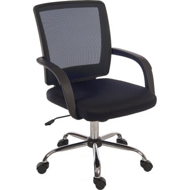 Star Mesh Black Chair with Chrome Base