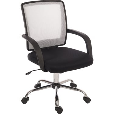 Teknik Star Mesh Black & White Chair with Chrome Base (6910WH)