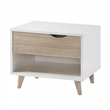 Stockholm 1 Drawer Bedside Cabinet, White & Oak