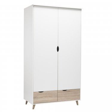 Stockholm Matt White & Oak 2 Door Wardrobe