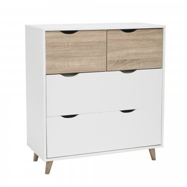 Stockholm Matt White & Oak 4 Drawer Chest